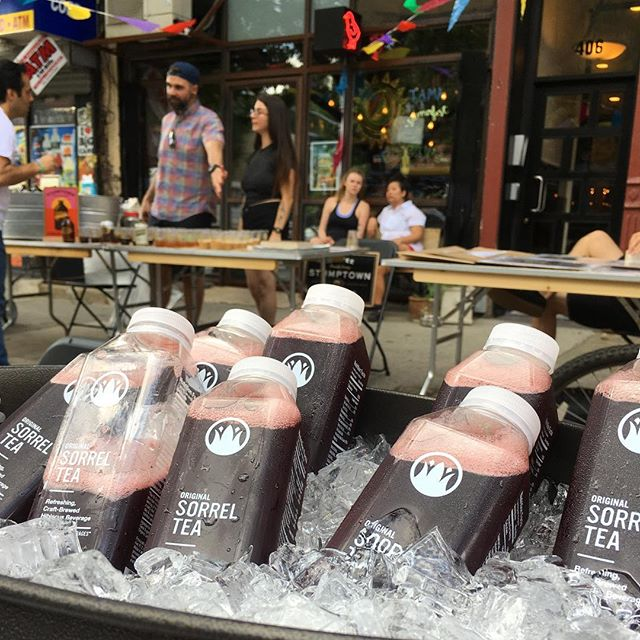 On ice. Stop by our table for a sample outside @chickysgeneral #tamafest. . . . #brooklyn #beverages #healthyfood #sorreltea #hibiscus #crownjewelbeverages