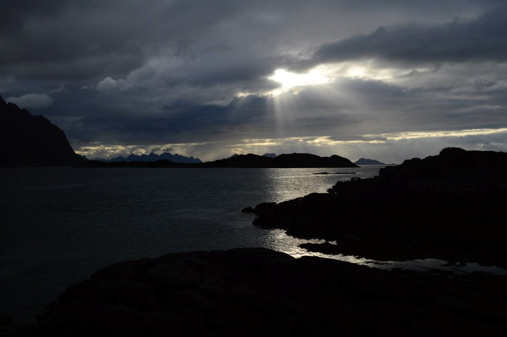 Henningsvaer, Mountains and creation light, August 13, 2015