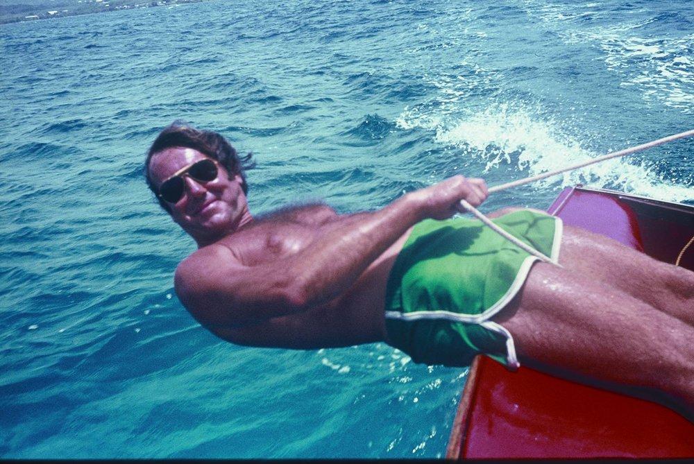 John Slade sailing near the island of St. Croix in the Caribbean, 1979.