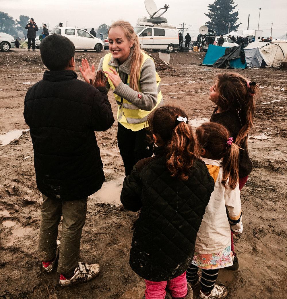 Klappelek med barna i Idomeni,mars 2016.