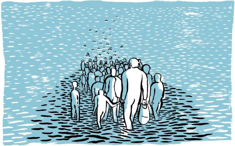 """Illustrasjon #2 til artikkelen """"Migrants Face Fortress Europe's Deadly Moat"""" (Illustrasjon: © Arianna Vairo)"""