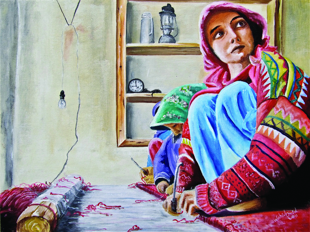 Wahid Omid, 'Weavers', oil on canvas board