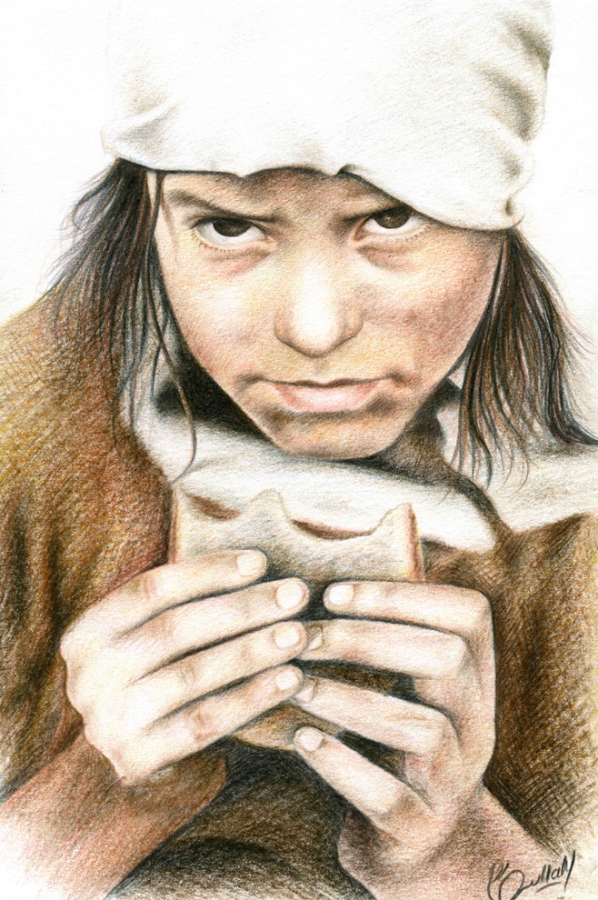 Syed Ruhollah Musavi, 'Afghan Refugee', colour pencil on paper