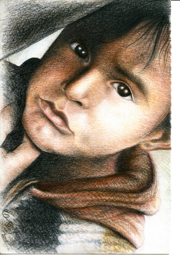 Syed Ruhollah Musavi, 'Afghan Refugee 2', colour pencil on paper