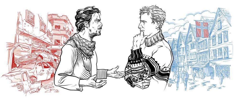 From Syria to Norway (Illustration:  Timur Sharafutdinov © Fremmed.no )