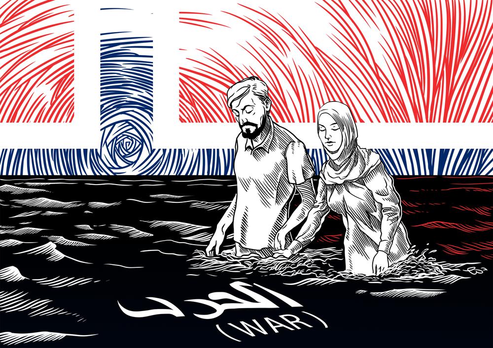 """A Return to Syria"" (Illustration: Timur Sharafutdinov © Fremmed.no )"