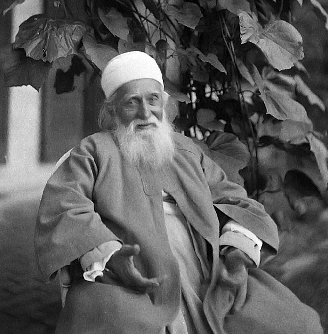 This photograph of 'Abdu'l-Bahá was taken on August 15,1912 at the summer home of Eliza and Raphael Pumpelly in Dublin, New Hampshire.  Mr. Pumpelly was a professor of Geology at Harvard University.