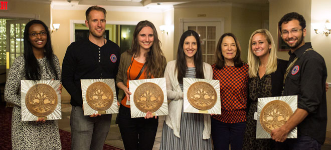 From left: ivoh award winners Asha Siad, Jesse Roesler, Lisa De Bode, and Tara Bracco; judges Meredith Porte and Mallary Tenore; and winner Adam Horowitz. Photo by Kenny Irby.
