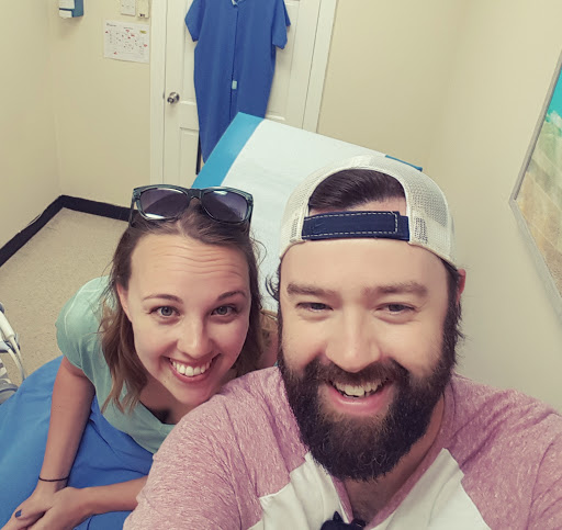 At our Sunday Scan. It was much more uncomfortable than Friday's, but just part of it!