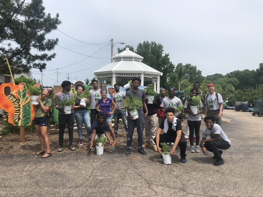 Tree Tenders and the Outdoor Youth Corps took a working field trip together to Greenscape Gardens to pot up plants in the greenhouses