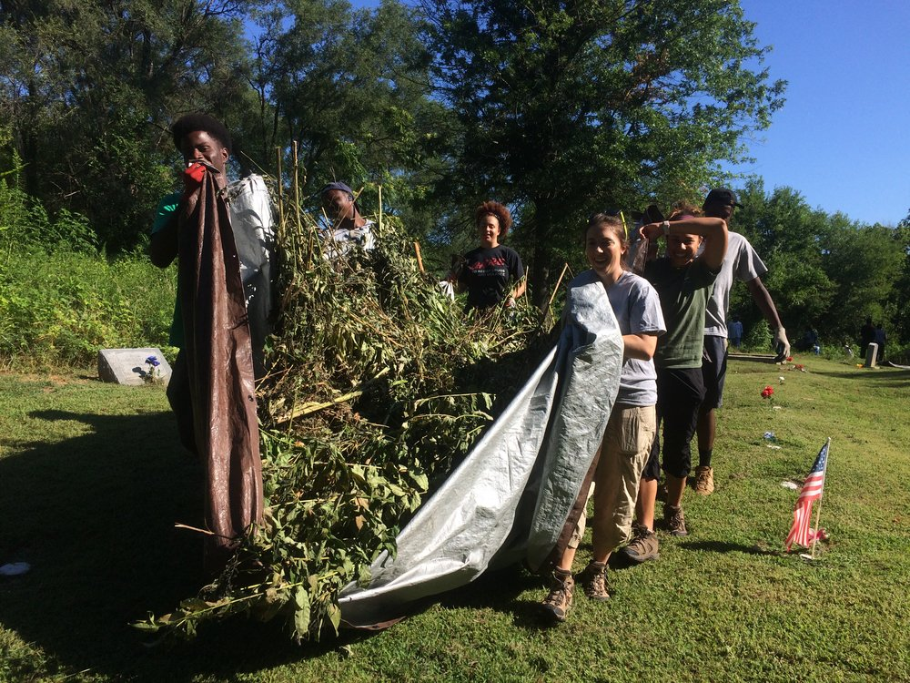 Heads up!  Teamwork made the dream work at Greenwood Cemetery in North St. Louis County.  Dragging, cutting, pulling, and ripping our way to a better understanding and appreciation for this historical and cultural gem in our community.