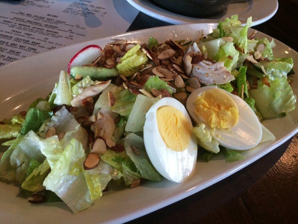 Point Reyes Chicken Salad - Pulled Rotisserie Chicken.Charred Asparagus. Herb Vinaigrette.Field Greens.Point Reyes Bleu Cheese.Almonds