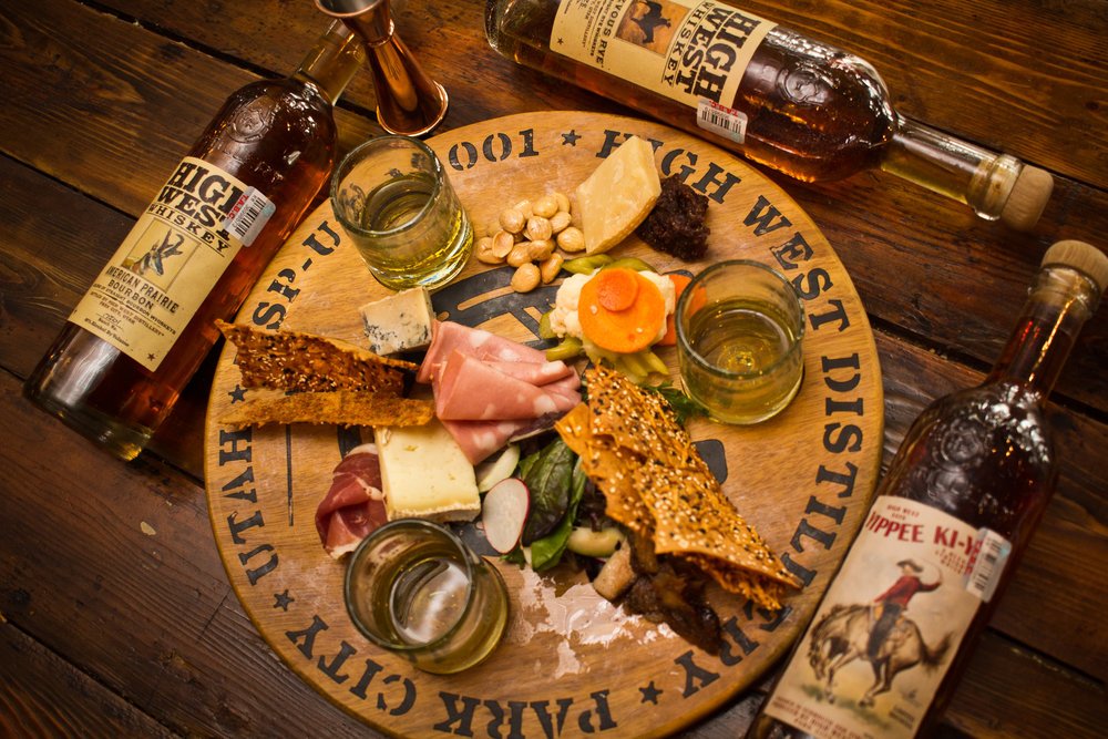 Whiskey Board  - 3 High West Whiskeys Paired With 3 Cured Meats and 3 Cheeses