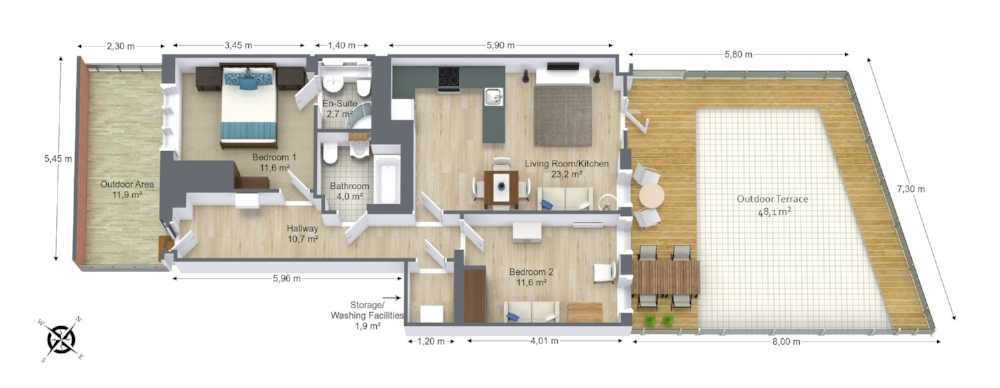 Floor Plans - We offer 3D floor plans (as shown)along with 2D floor plans. These plans allow your clients to get a full overview of the property.
