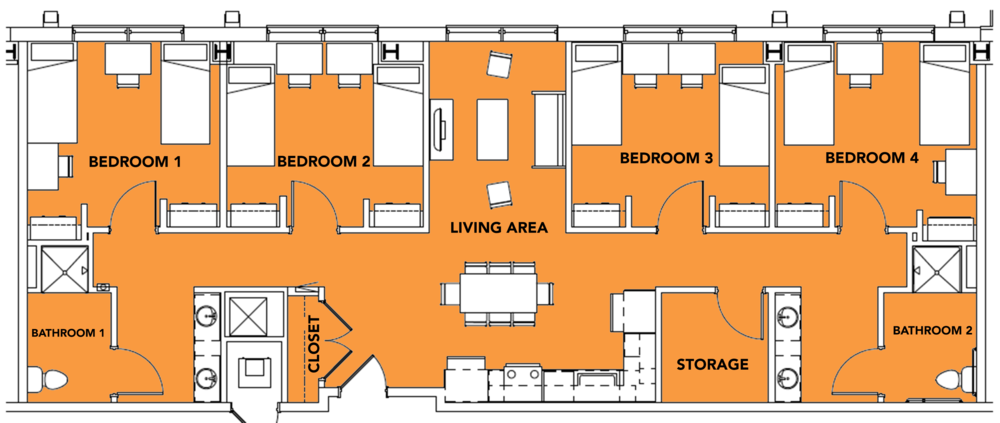 8 Students - 4 bed, 2 bath