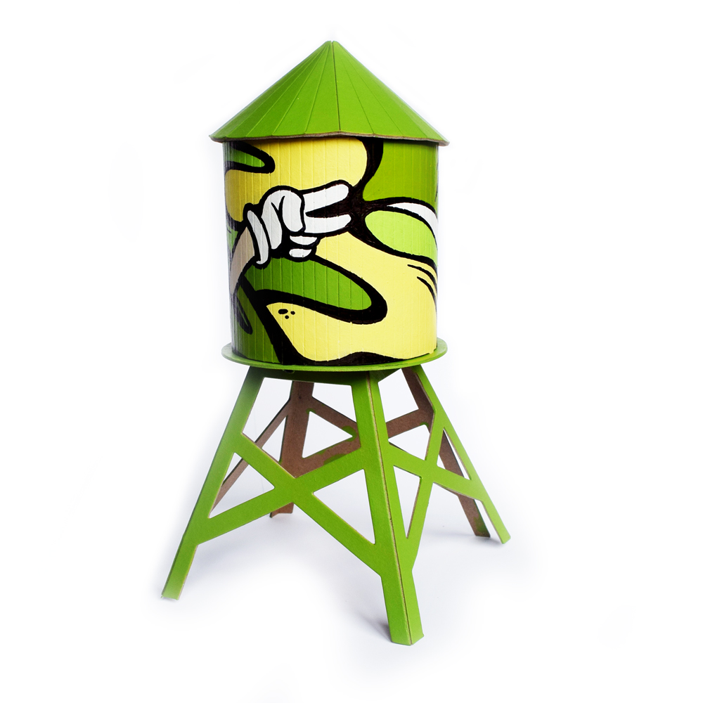 """Green Peace"" - Acrylic on mini water tower"