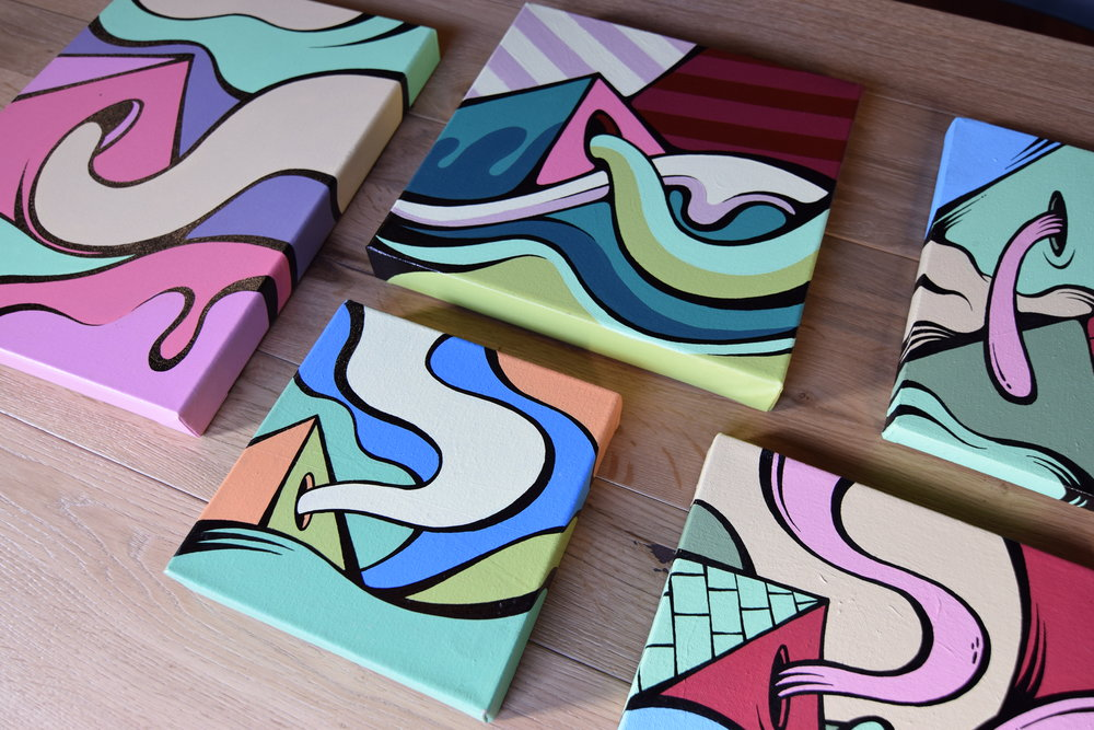 Assorted small works on canvas, 2016