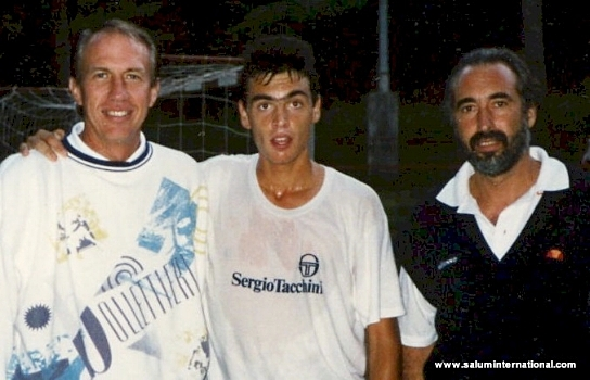 SERGI BRUGUERA - 1993-1994 FRENCH OPEN CHAMPION (CENTER) WITH DR. jIM LOEHR (L) AND LLUIS BRUGUERA (R)