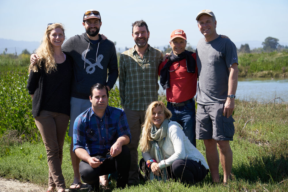 Several members of OCE's Stanford/Searsville Dam team in early 2016 at the mouth of the very special San Francisquito Creek. Gordon loved this creek and the wild steelhead trout that have inhabited it for centuries, fighting against all odds to maintain a viable population in the San Francisco Bay Area, even as Central California Coast steelhead have become threatened due to water diversions and habitat disturbances. Front row: Mike Costa & Tiffany Schauer. Back row: Annie Beaman, Drevet Hunt (Lawyers for Clean Water), Gordon Becker (Center for Ecosystem Management and Restoration), Christopher Sproul, & Scott McDonald.