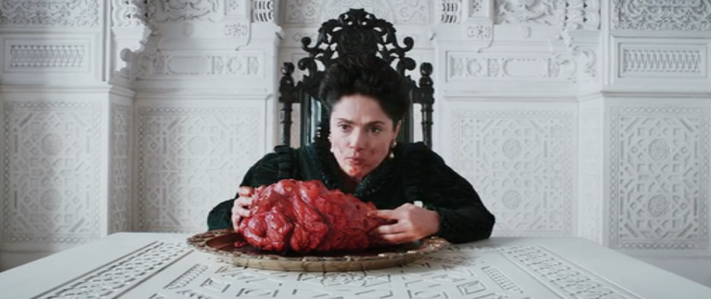 19.12.2016. We love the mix of intricate detail and stark minimalism in these scenes from TALE OF TALES - they're based on a series of medieval fairy tales. Salma Hayek plays a queen who will do anything to get what she wants, and we like watching this bit where she feasts on an entire heart on her black throne, like the only chess piece left standing. #grotesque #yasqueen