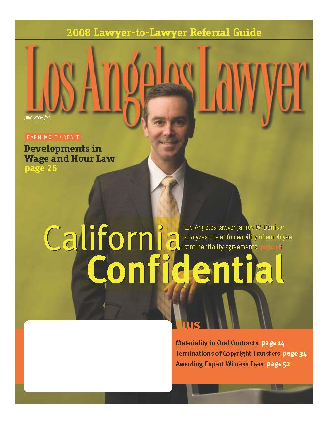 James W. Denison    on the cover of  Los Angeles Lawyer Magazine