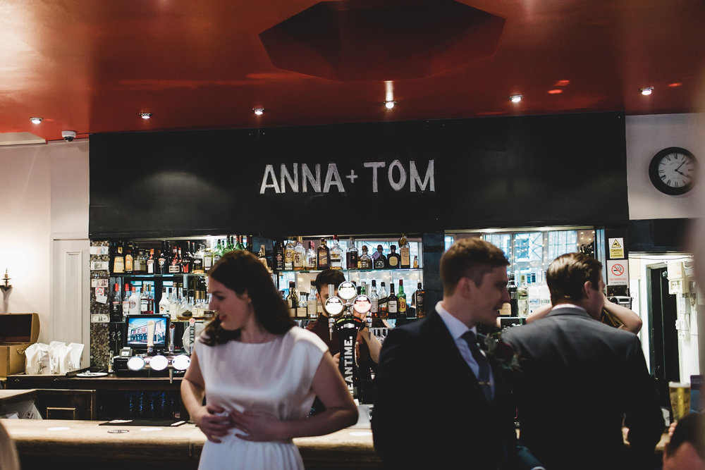 chalkboard wedding names easton pub london