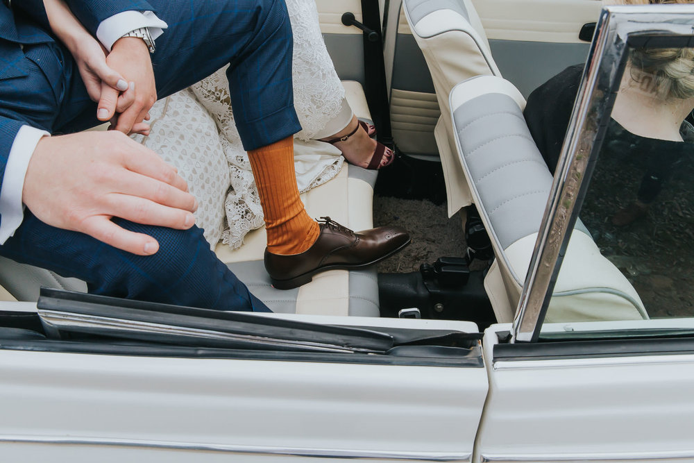 groom socks arriving in style at natural retreats
