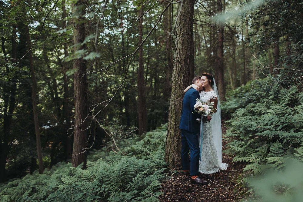 bride and groom woodland wedding at natural retreats