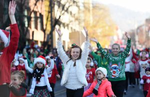 Limelight Dance Studio students perform along Penn Street during the 2016 Reading Holiday Parade. Photo by Lauren A. Little/Courtesy of Reading Eagle.