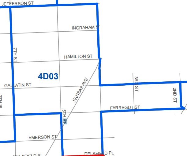 ANC 4D03's boundaries are roughly south of Jefferson St NW, north of Delafield Pl NW, east of 7th St NW, and west of 2nd St NW.