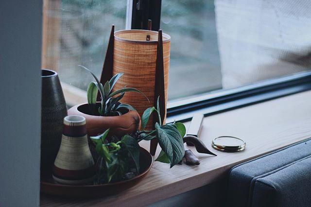 Quiet corner.⠀ ⠀ ______⠀ .⠀ .⠀ .⠀ #inpraiseofslowness #superslowlife #pottery #keramik #handmade #craftsmanship #vintagepottery #kinfolk #westgermanpottery #ahumantouch #slowdesign #teak #midcenturymodern #lamps #plantlove #artanddesign #plantsofinstagram
