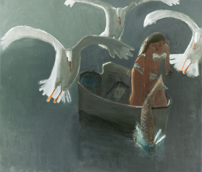 Releasing the Catfish,  2011 oil on canvas 54 x 56 in.