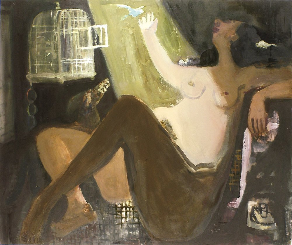 Danae and the Parakeet , 2009 oil on linen 63 x 53 in.