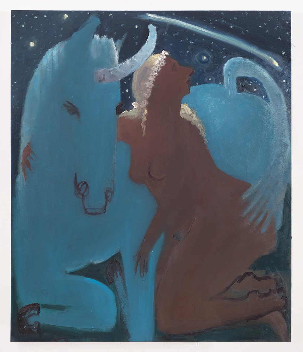 Unicorn and Shooting Star , 2015 oil on canvas 42 x 36 in.