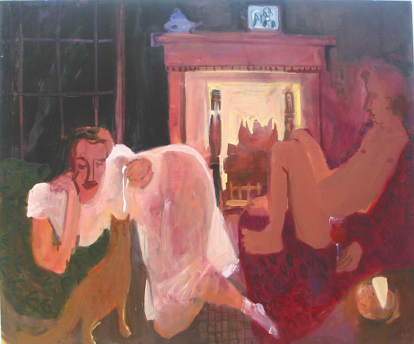 By the Fire , 2004 oil on linen 63 x 53 inches