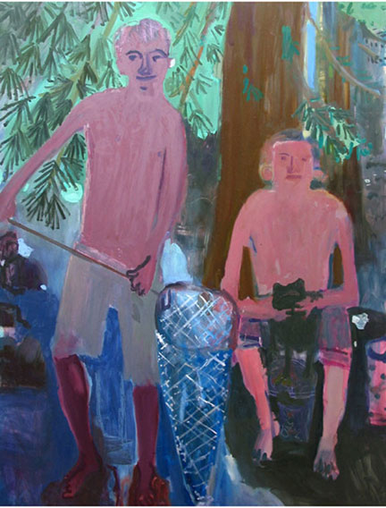 Frog Boys , 2002 Oil on linen 54 x 64 inches