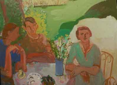 Garden Lunch , 1997 Oil on linen 56 x 44 inches