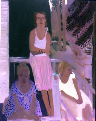 On the Deck , 2001 Oil on linen 54 x 64 inches