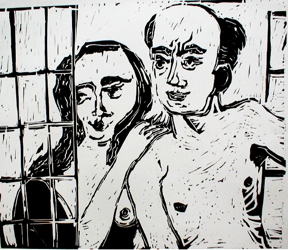 Anniversary Night , 2003 Linocut 24 x 18 inches