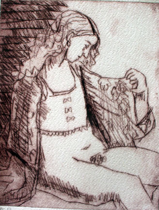 Bathrobe , 2004 Drypoint 24 x 32 inches