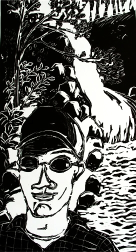 Campbell's Falls , 2003 Linocut 16 x 36 inches