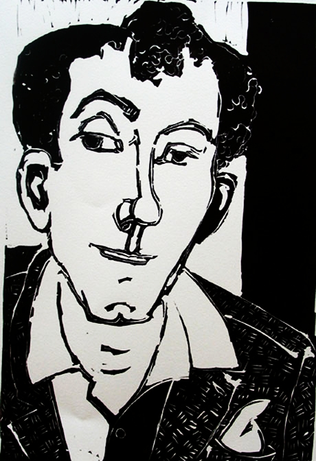 Famous Writer , 2004 Linocut 11 x 14 inches