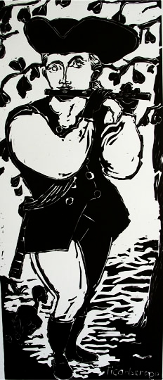 Fifer , 2002 Linocut 16 x 36 inches