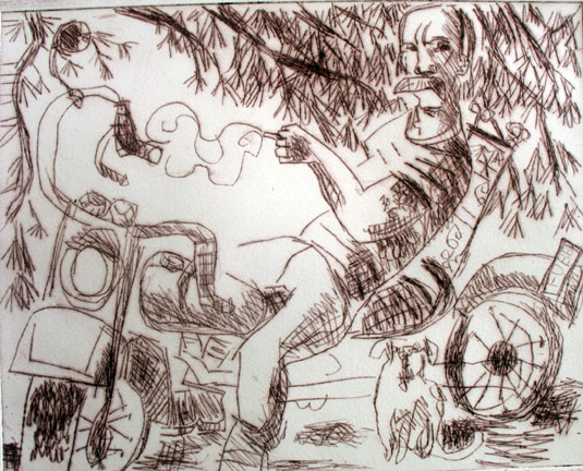 Fub and Tippy , 2005 Drypoint 24 x 32 inches