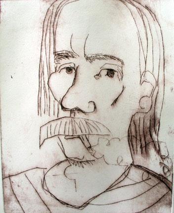 Fub Smoking , 2005 Drypoint 24 x 32 inches