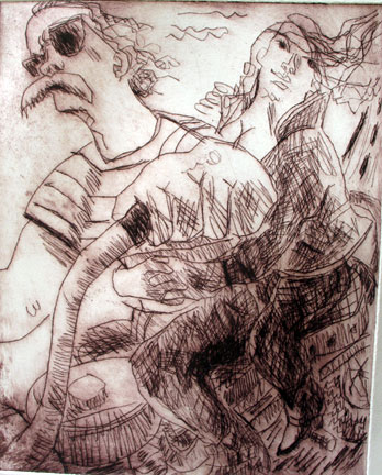 Going for a Ride , 2005 Drypoint 24 x 32 inches