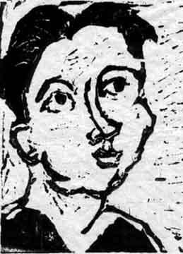 Judy , 2001 Linoleum print 8 x 10 inches