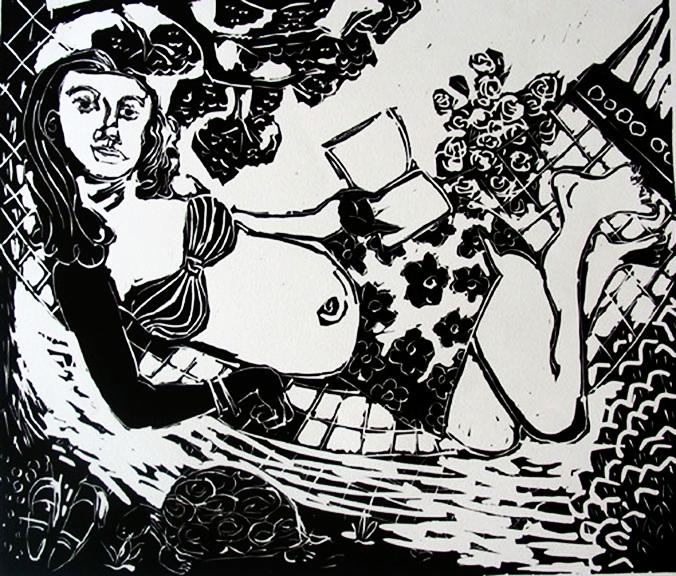 Katherine's Hammock , 2004 Linocut 30 x 24 inches