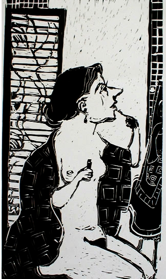 Makeup , 2002 Linocut 18 x 28 inches