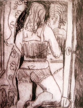 Looking in Mirror , 2005 Drypoint 24 x 32 inches